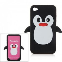 3D Little Penguin Shape Silicone Protective Case Cover for iPhone 4 4S (Black)