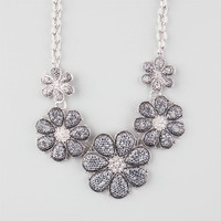 Full Tilt 5 Flower Glitter Necklace Hematite One Size For Women 24824718901