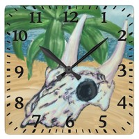 Cow Skull with Plank Wall Clock