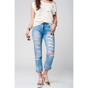 ESBON DENIM JEANS WITH EXTREME RIPS AND PAINT SPLATTER