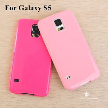 Solid Candy Color Silicone Gel Soft Rubber Skin Cover Case Shell for Samsung Galaxy S5 SV I9600 = 1958502148