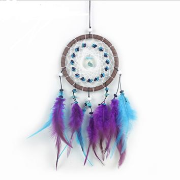 Handmade Turquoise Leather Fumigation Feathers Dreamcatcher Original  Wall Hangings