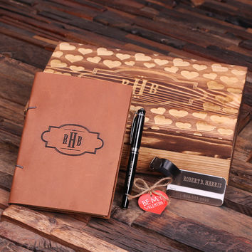 Personalized Valentines Day Leather Journal Luggage Tag and Pen with Wood Gift Box