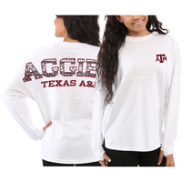Texas A&M Aggies Women's Aztec Sweeper Long Sleeve Top – White