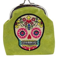 Mexican Day of the Dead Sugar Skull Kisslock Embroidered Coin Purse