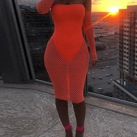 New Orange Off Shoulder Backless Mesh Sheer Long Sleeve Bodycon Party Clubwear Midi Dress