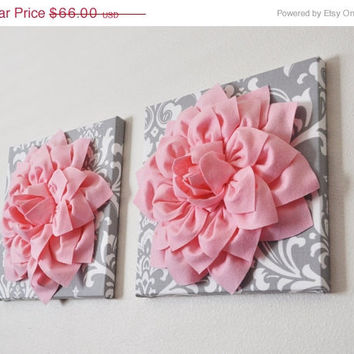 "MOTHERS DAY SALE Two Wall Flowers -Light Pink Dahlia on Gray and White Damask 12 x12"" Canvas Wall Art- Baby Nursery Wall Decor-"