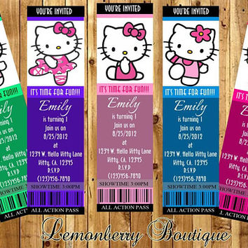 Hello Kitty, Little Mermaid, Beauty and the Beast, Winnie the Pooh movie inspired, bookmark ticket invitations, laminated,