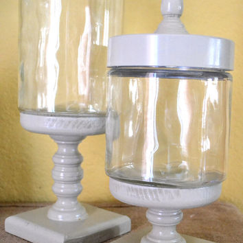 Ivory Apothecary Jar / Glass Candy Jar on Pedestal Set of 2