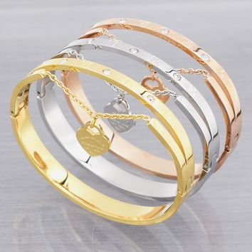 Multi-color Stainless Steel Roman Numerals Chain Heart Lock Bangle Bracelets