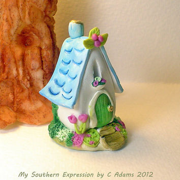 """Miniature OOAK Cottage Fairy House """"Blue Bell Cottage """" by C Adams"""