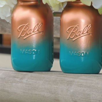 Copper and Teal mason jars, ombre painted mason, wedding mason jars, home decor, medium mason jars, mason vase, jade jars