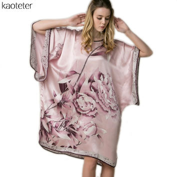 100% Real Silk Women Loose Loungewear Night Skirt Homewear One Piece Plus Size Home Wear Hand Painted Flower Nightgowns YBS00302
