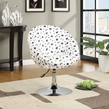 Black and white dalmatian print fabric accent side chair with chrome base and adjustable height