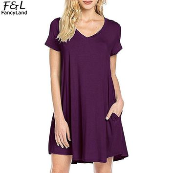 Women Summer Dress 2018 Beach Dress Vestidos V Neck Short Sleeve Solid Loose Basic Tee Swing Mini Dress With Pockets Women