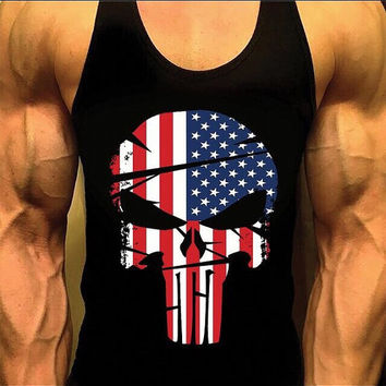 Punisher Shirt. Mens Workout Tank Top. Fitness Tank. Racerback Tank. Muscle Tank. Men's USA Shirt. Gym Tank. Workout Shirt. Fitness Appare