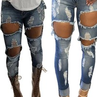 Womens Ripped Denim Skinny Jeans