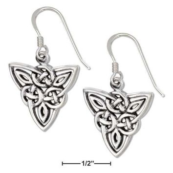Sterling Silver Scrolled Celtic Trinity Earrings On French Wires