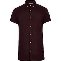 River Island MensDeep purple short sleeve Oxford shirt