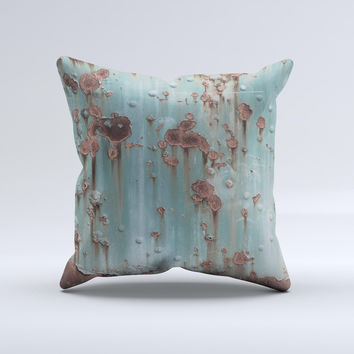 Subtle Blue Metal with Rust  Ink-Fuzed Decorative Throw Pillow