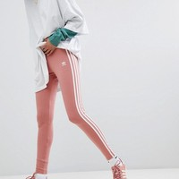 adidas Originals Three Stripe Leggings In Pink at asos.com