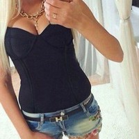 Sexy Women Sleeveless Blouse Ladies Bodysuit Leotard Top Backless Top New