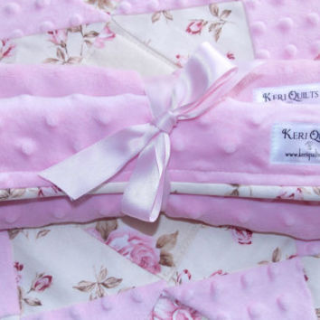 Baby Girl Burp Cloth Set of 2 in Pink Minky and Pink Terry Cloth