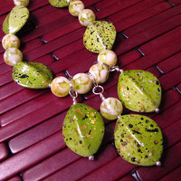 One-Of-A-Kind Lime Green Necklace with Mother of Pearl Resin Beads