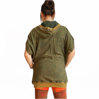 Hoodie Short Sleeve Hmong Pocket Unique Boho and Hip Hop Style 100% Cotton Stone Washed.