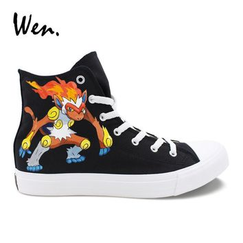 Wen Hand Painted Shoes Male Female Anime Design Pokemon Go Infernape Canvas Sneakers Pedal Platform Espadrilles Flat Plimsolls