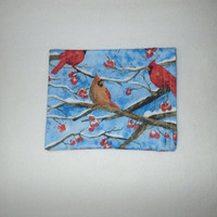 Small Sinus Heating Pad, Migraine Heatig Pad, Cold Pack, Rice Heating Pad, Natural Heating Pad,Cardinal, Red Birds, Winter Scene