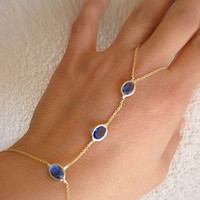 Slave Bracelet with blue Crystals - Gold filled and adjustable wrist part - One Piece