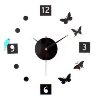 Butterfly Diy Stylish Creative Acrylic Quiet Clock [6282310918]