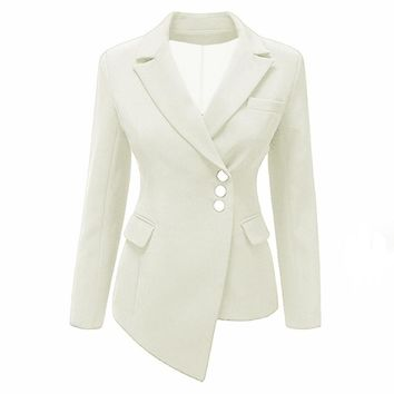 Women office Coat Plus Size Lady Lapel Single-Breasted Asymmetric Girl Fashion Blazer Long Sleeve jacket Slim office wear