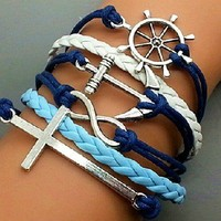 Crosses, anchors, rudders multilayer woven bracelet