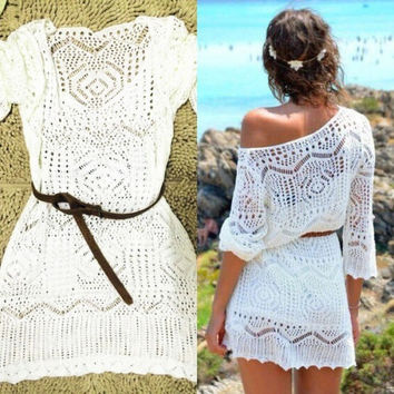 Fashion Womens White Summer Boho Sexy Lace Hollow Knit Bikini Swimwear Cover up Crochet Beach Mini Dress Tops Blouse (Color: White) = 1958005764