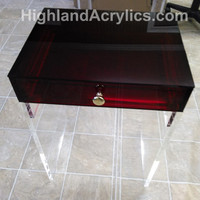 Acrylic Lucite Nightstand Table Furniture with Red Transparent top Drawer/Clear legs