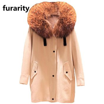 SF0237 2017 Autumn/winter new women's parkas real lamb detachable liner large raccoon fur jacket corduroy coats loose clothing