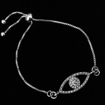 Crystal Evil Eye Bolo Bracelet Silver Adjustable Bracelet Gift One Size Fits All Charm Bracelet Good Luck Message Jewelry