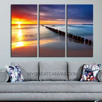 Canvas Print Sunset on Ocean 3 Panel Wall Art Print - Ready to Hang - Beach and Sunset Wall Art - Triptych