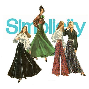 1970s Maxi Skirt, Pants and Blouse Pattern Bust 32 Uncut Simplicity 5310 Flaminco Evening Skirt, Bell Bottoms Womens Vintage Sewing Pattern