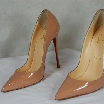 CHRISTIAN LOUBOUTIN 'SO KATE' SKIN COLOR PATENT LEATHER PUMPS EU 37 US 7