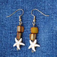 Starfish earrings; beach earrings; summer earrings; star earrings; sea life earrings; ocean earrings; nautical earrings; sea star earrings