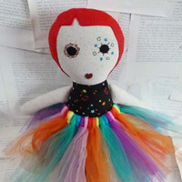 Modern Rag Doll - Embroidered Plush - Creepy Cute Soft Toy - Circus Themed Stuffed Toy