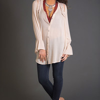 Let Me Go Button Down Tunic (Light Taupe)