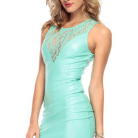 In the Mix Mint n Lace Pleather Dress