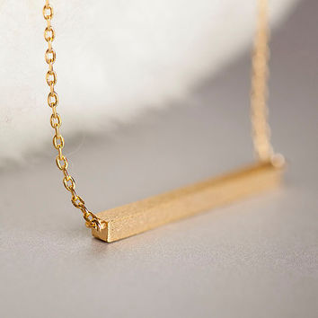 Gold Straight Bar Necklace, Slim Bar  Sideways Necklace, Minimalist