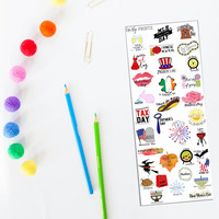 Monthly Holiday Stickers, Monthly Funny Stickers, Year of Holiday Stickers, Planner Stickers, Holiday Stickers (#0214)