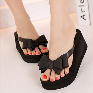 Ladies Summer Platform Flip Flops Thong Wedge Beach Sandals Knotbow Shoes