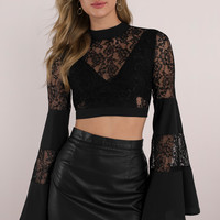 Past Midnight Lace Crop Top